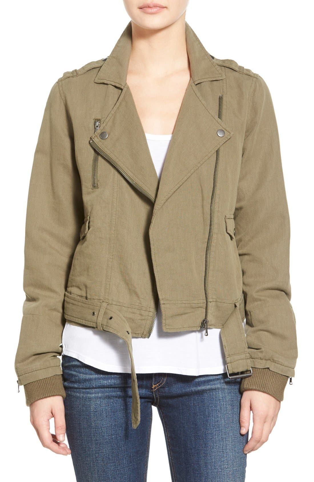 Alternate Image 1 Selected - Paige Denim 'Marjorie' Twill Moto Jacket