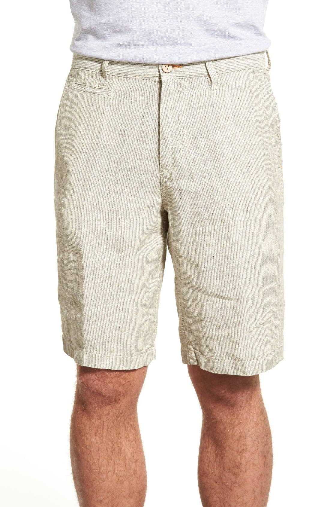 Main Image - Tommy Bahama 'Line of the Times' Relaxed Fit Striped Linen Shorts