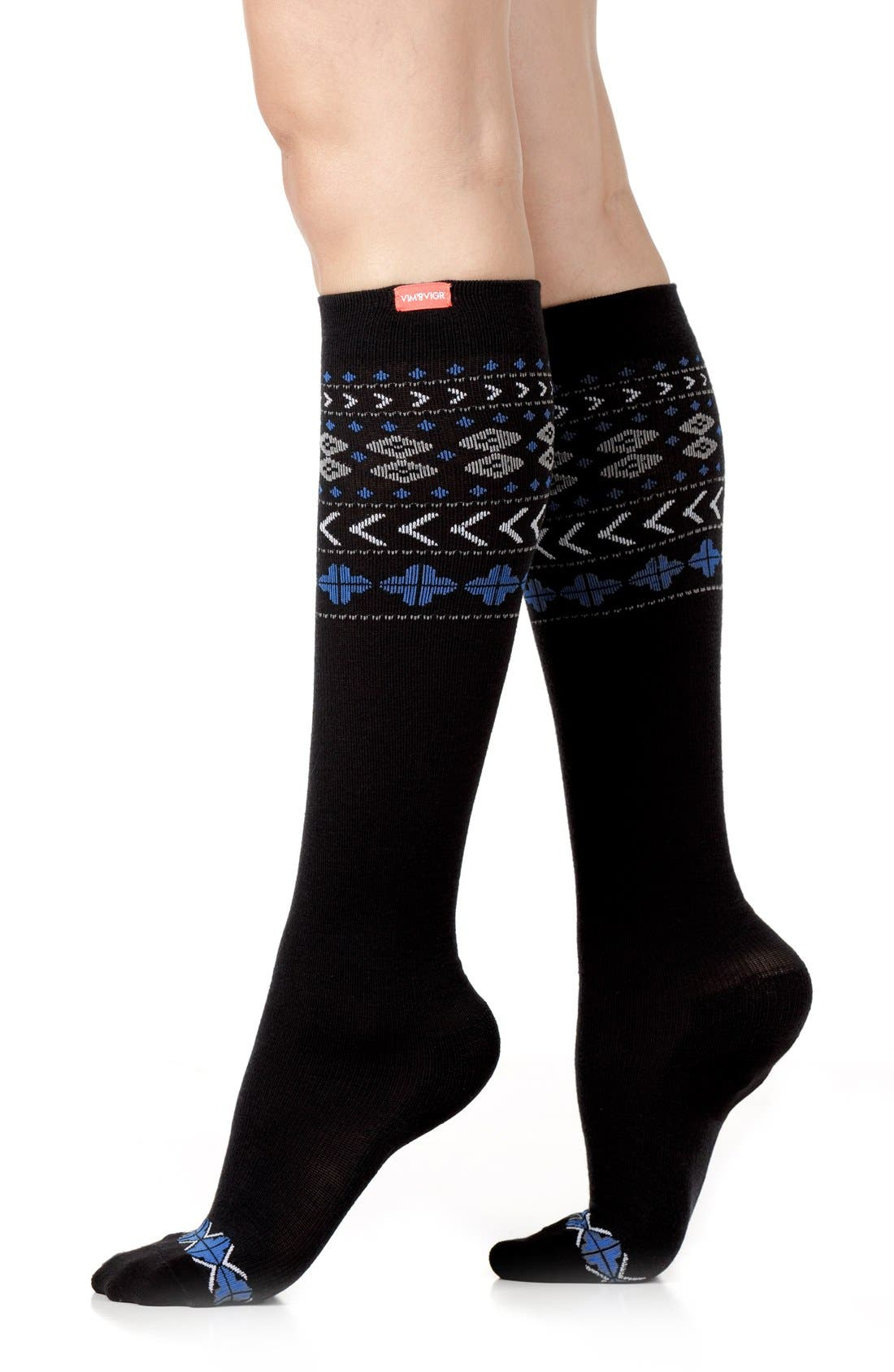 VIM & VIGR Fair Isle Compression Knee Socks