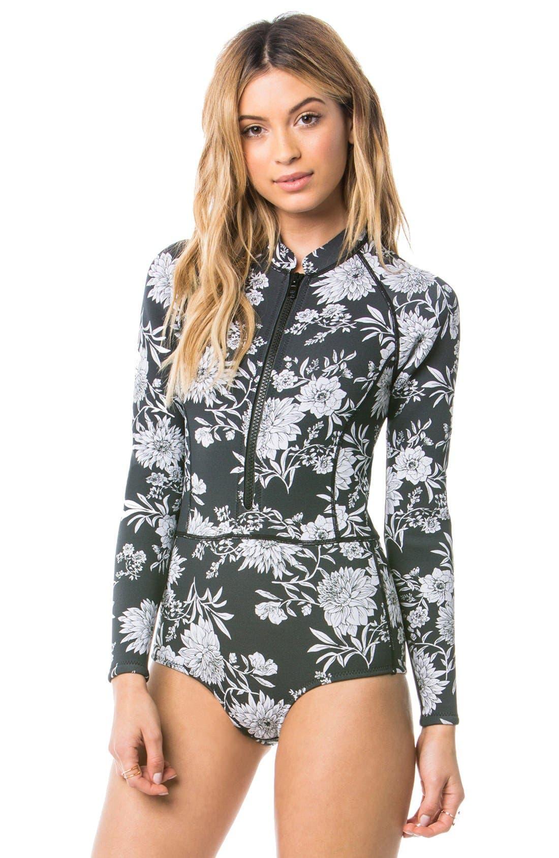 Main Image - Amuse Society 'Makala' Floral Print Long Sleeve One-Piece Swimsuit