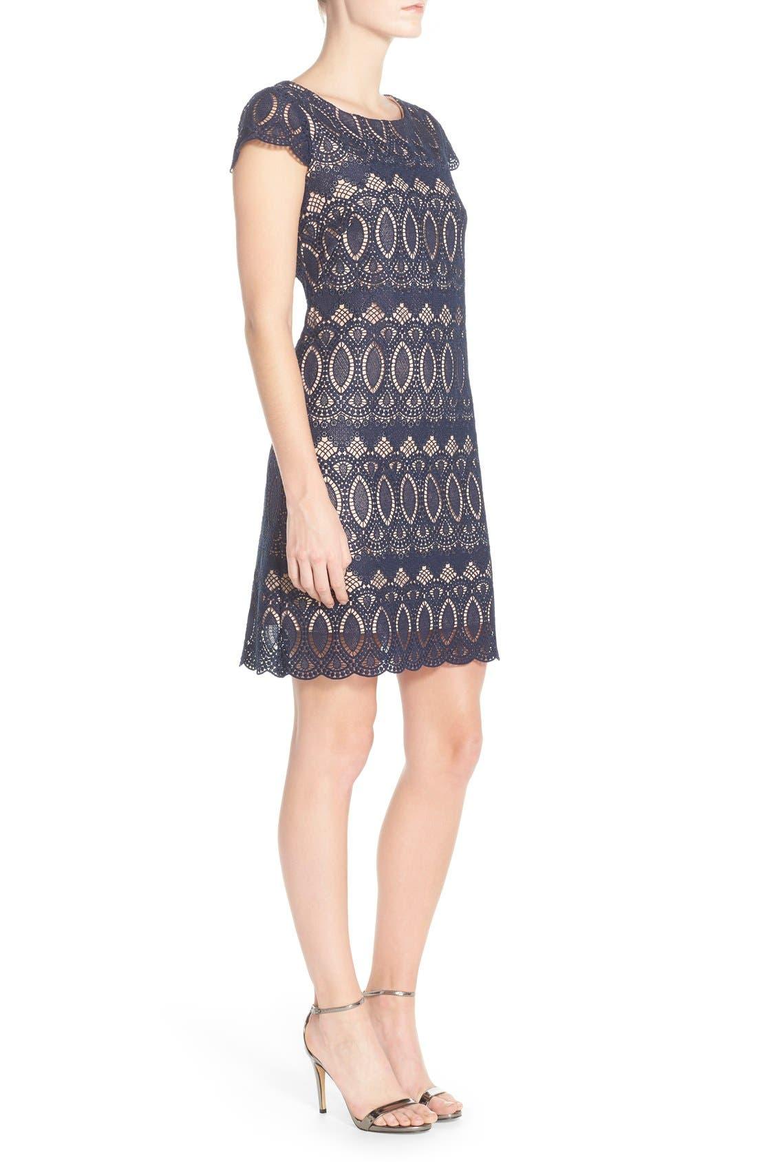 Alternate Image 3  - Eliza J Scalloped Lace Sheath Dress (Regular & Petite)