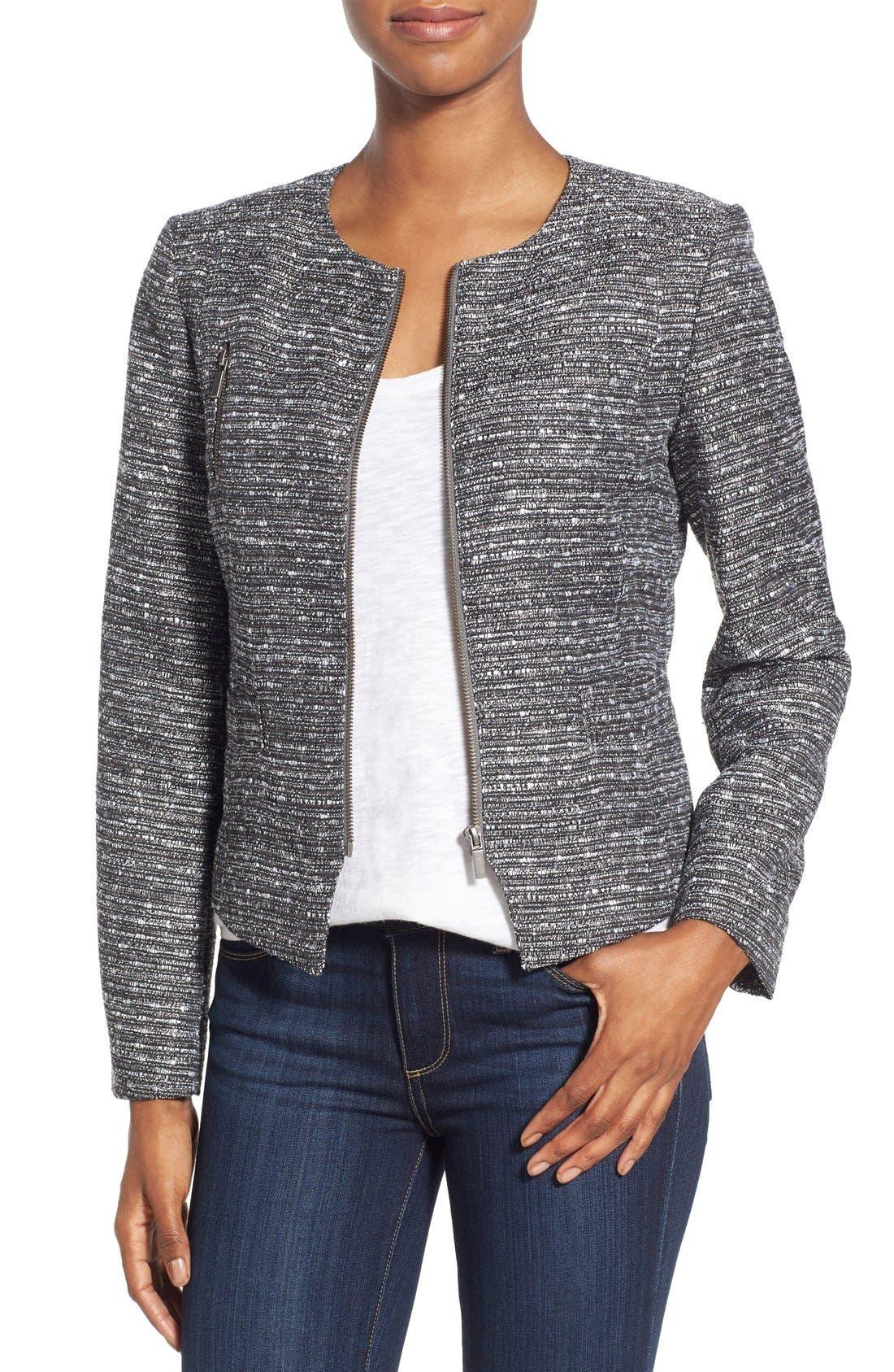 Alternate Image 1 Selected - Halogen® Zip Front Tweed Jacket (Regular & Petite)