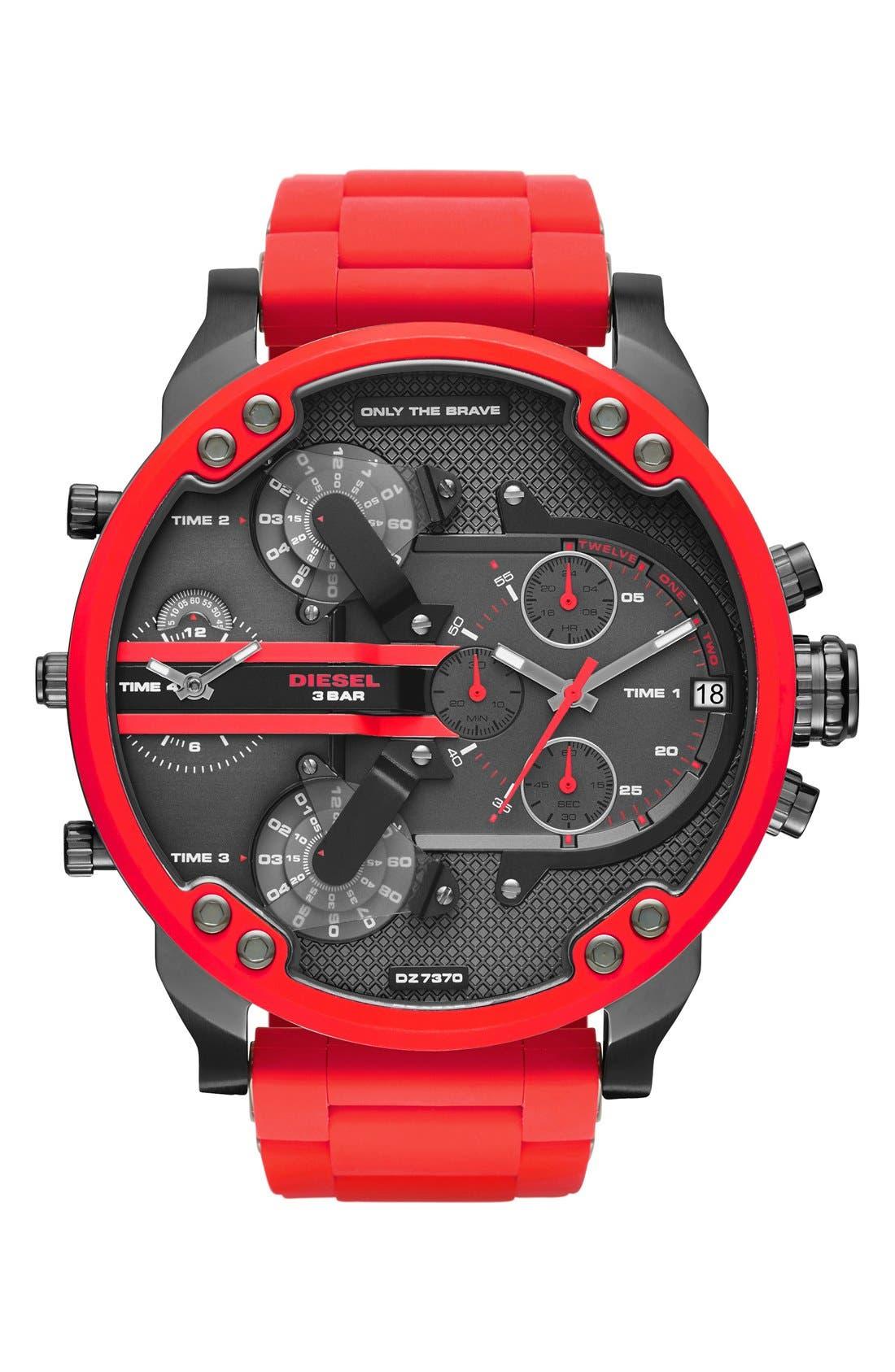 DIESEL® 'Mr. Daddy' Chronograph Silicone Strap Watch, 57mm