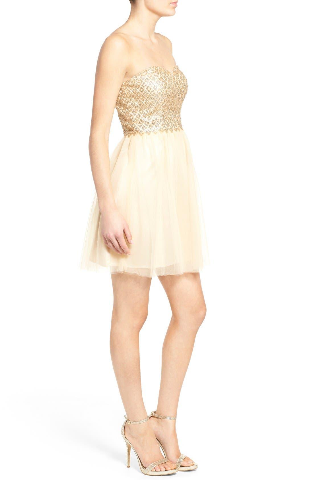 Alternate Image 3  - a. drea Strapless Glitter Bodice Fit & Flare Dress