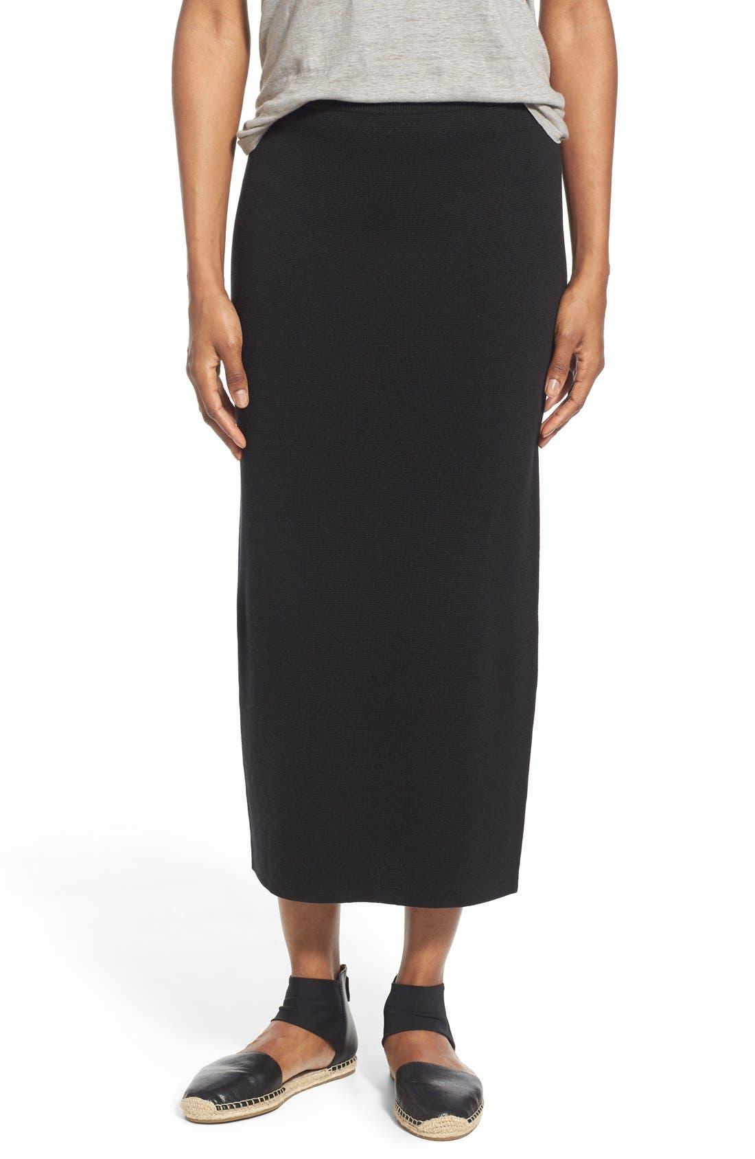 Main Image - Eileen Fisher Silk & Cotton Interlock Knit Pencil Skirt (Regular & Petite)