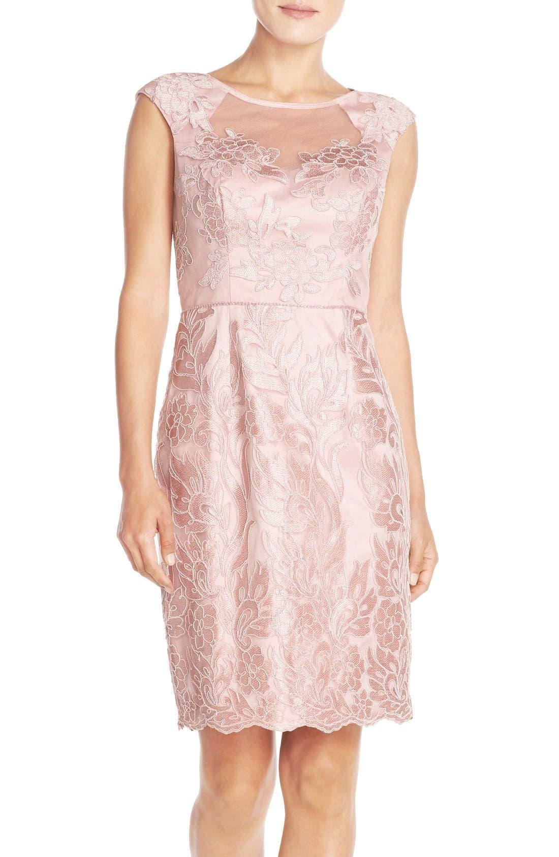 JS Collection Illusion Neck Woven Sheath Dress (Regular & Petite)
