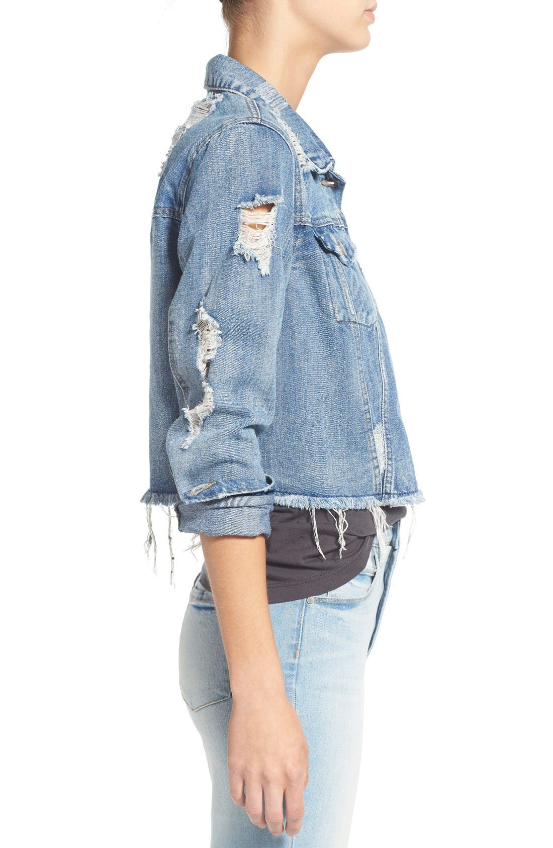 Alternate Image 3  - Love, Fire Distressed Denim Jacket