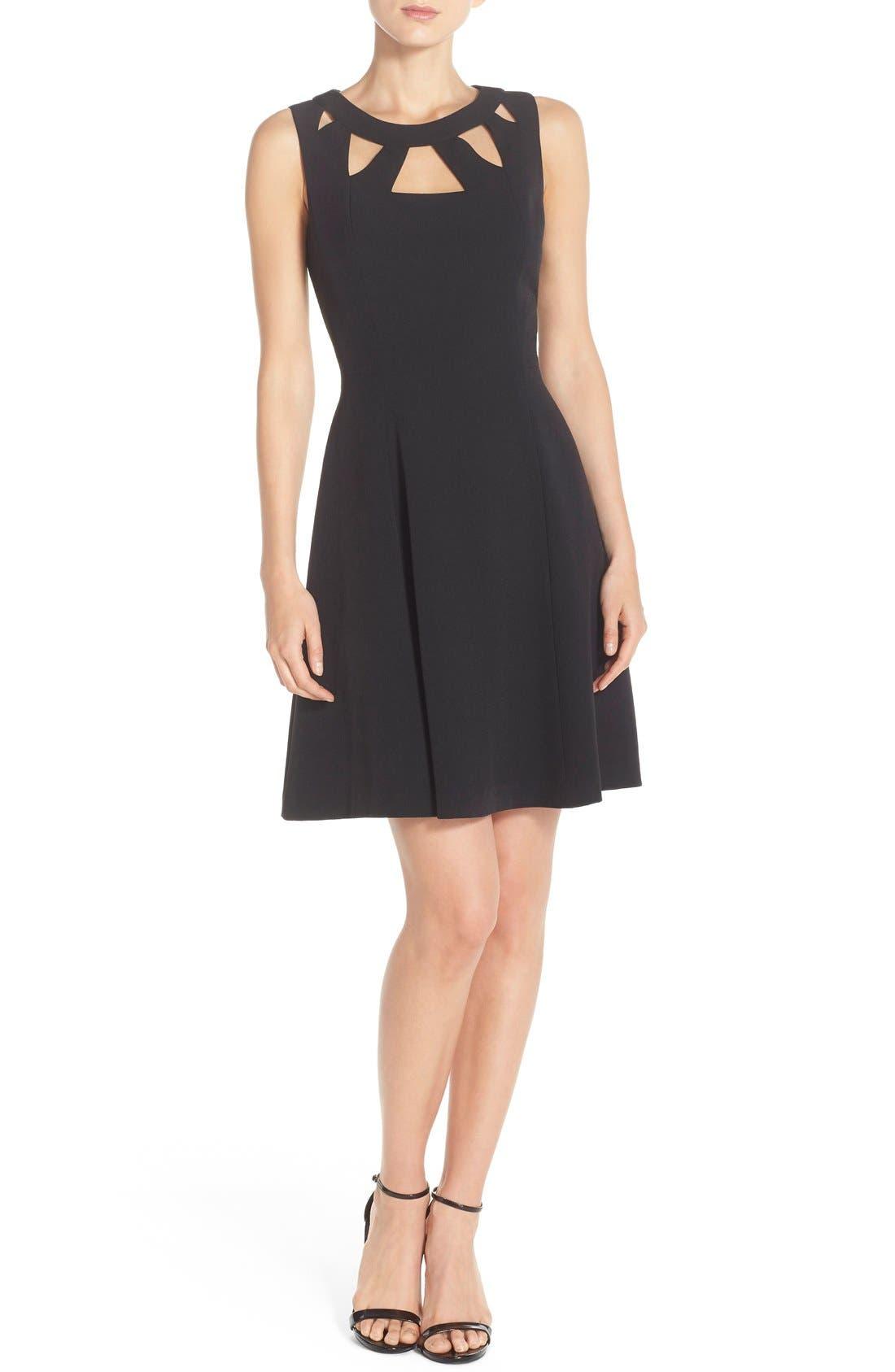Alternate Image 4  - Eliza J Cutout Crepe Fit & Flare Dress