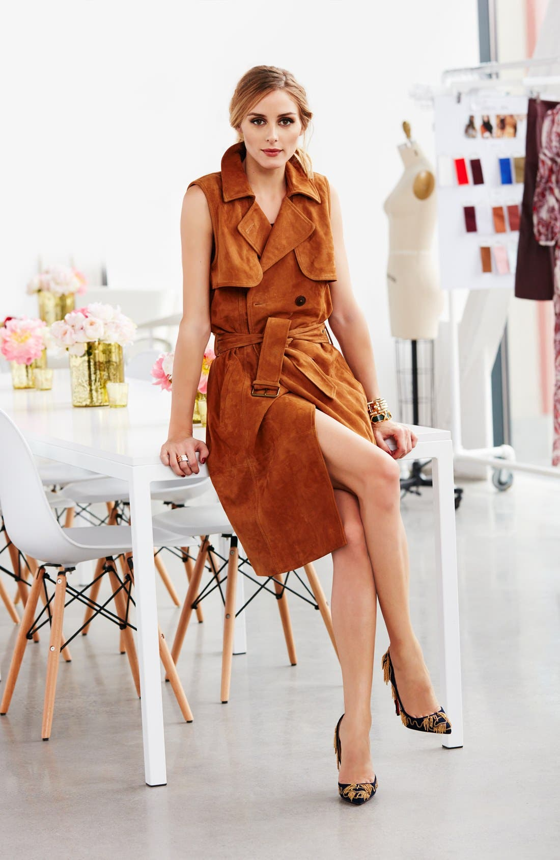 Alternate Image 6  - Olivia Palermo + Chelsea28 Sleeveless Suede Trench Dress