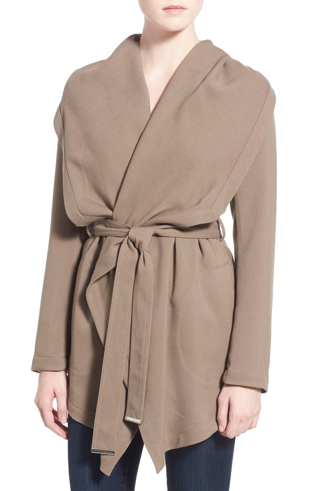 Main Image - Soia & Kyo Hip Length Drapey Hooded Wrap Coat