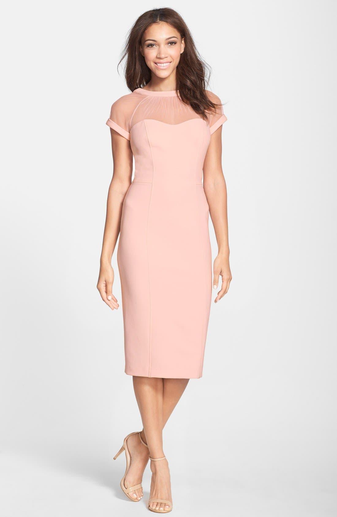 Alternate Image 1 Selected - Maggy London Illusion Yoke Crepe Sheath Dress (Regular & Petite)