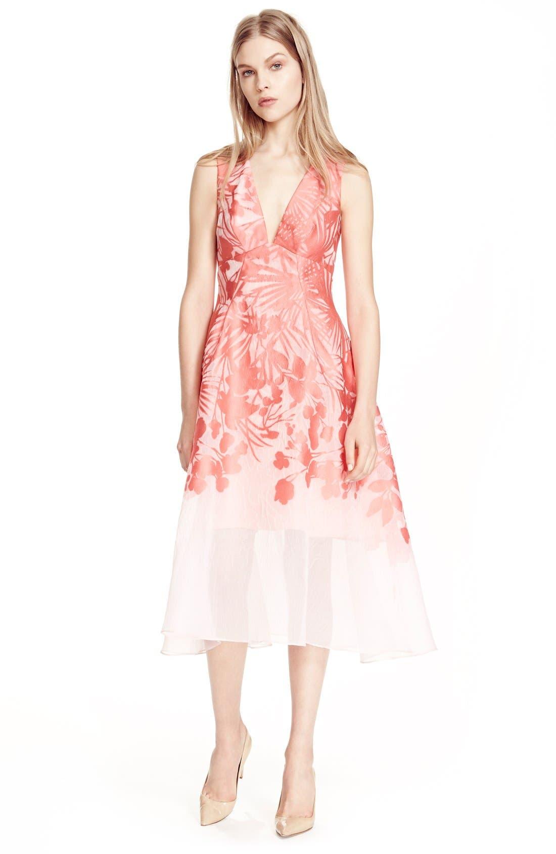 Alternate Image 6  - Lela Rose Floral Organza V-Neck Dress