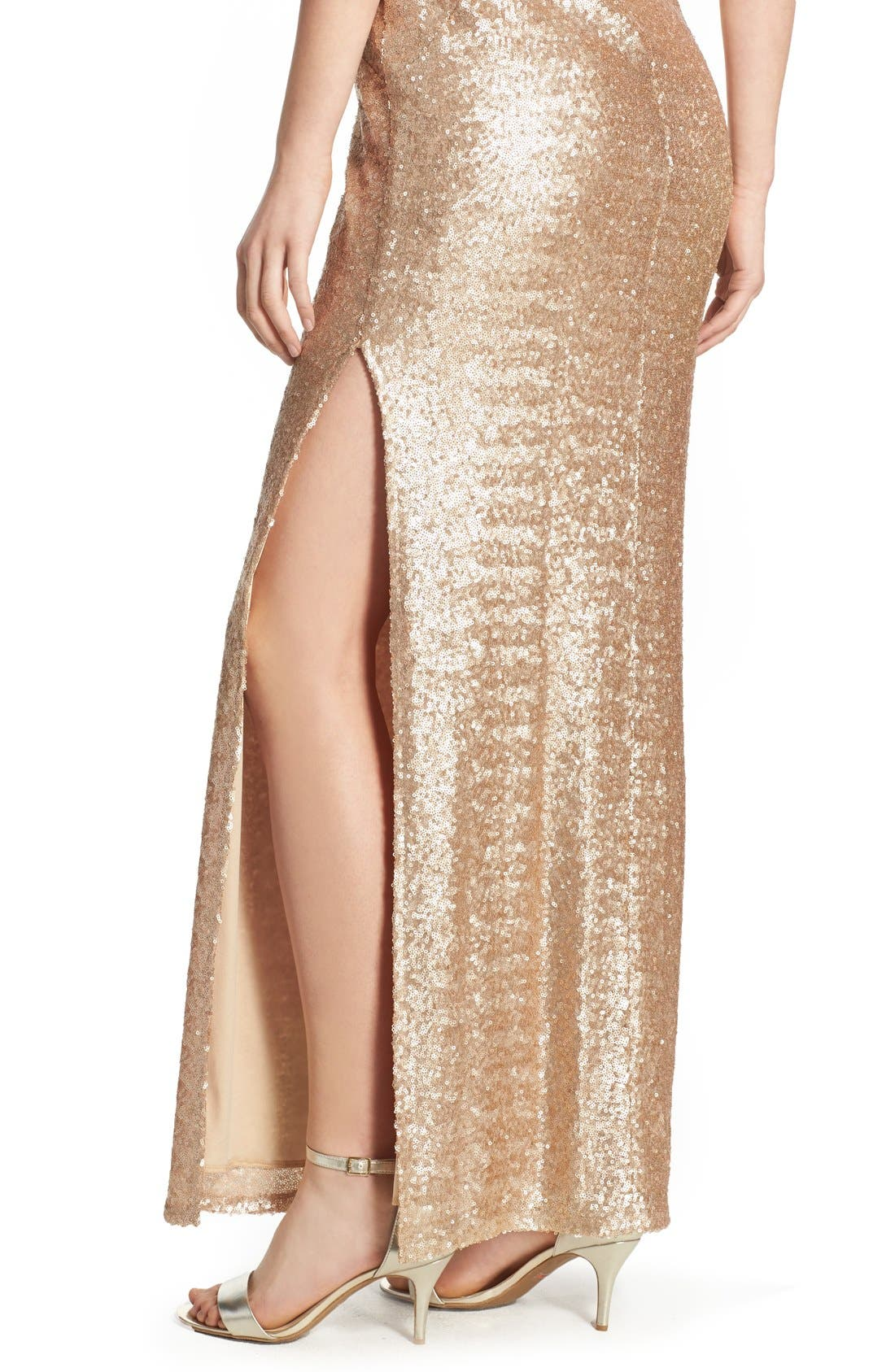 Alternate Image 4  - Love, Nickie Lew Sequin Sleeveless Gown