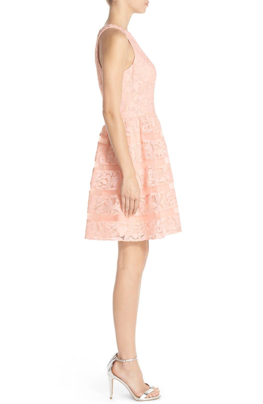 Alternate Image 3  - Aidan by Aidan Mattox Organza Shadow Stripe Lace Fit & Flare Dress