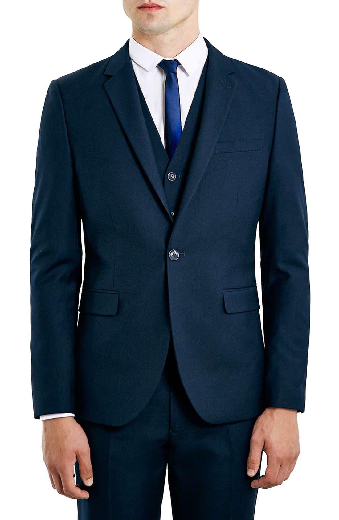 Alternate Image 1 Selected - Topman Navy Skinny Fit Suit Jacket