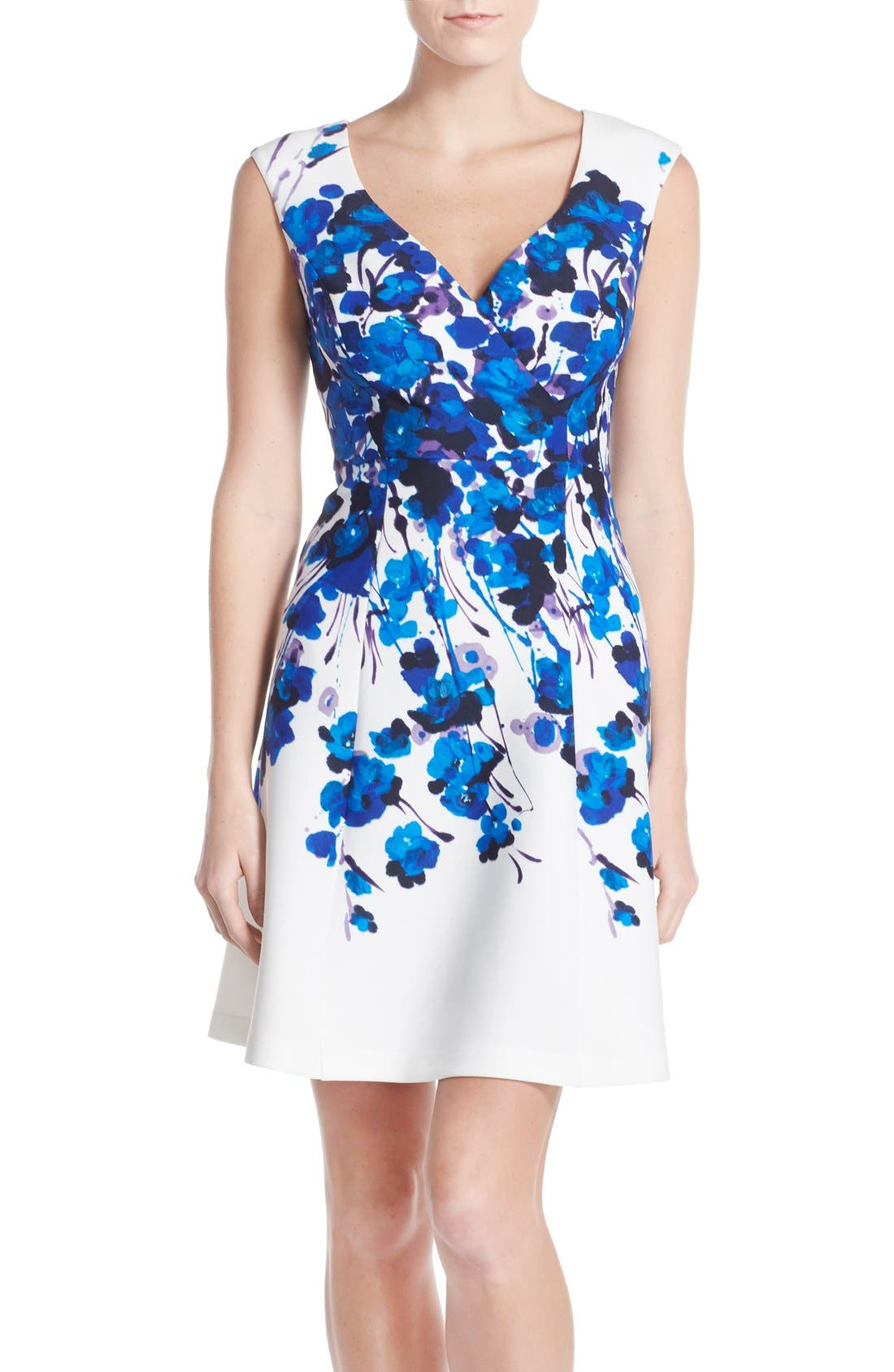 Main Image - Adrianna Papell Placed Print Stretch Fit & Flare Dress