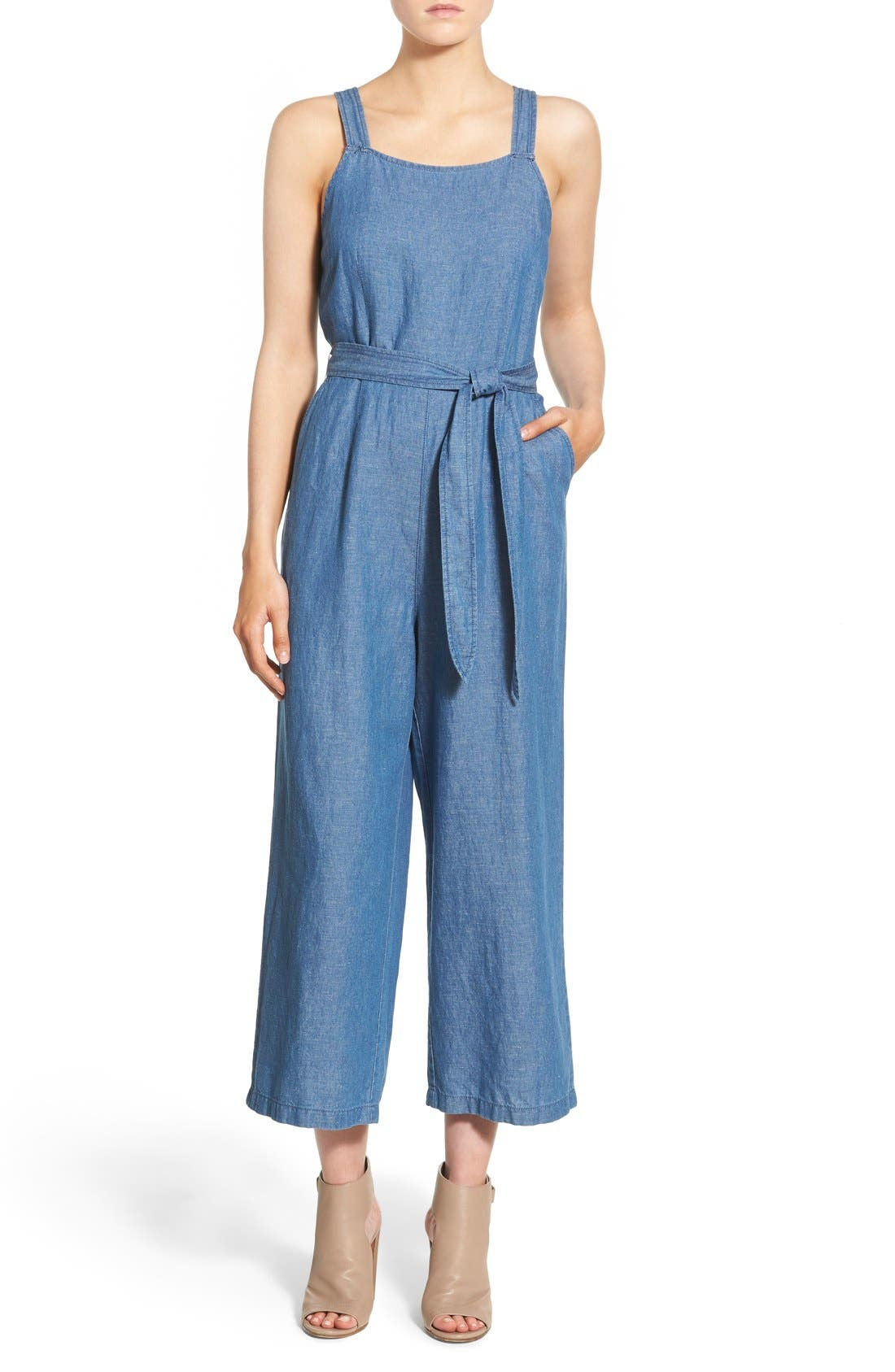 Alternate Image 1 Selected - Madewell 'Muralist' Crop Chambray Jumpsuit