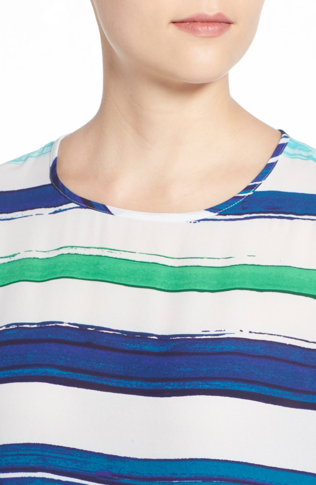 Alternate Image 4  - Chaus Stripe High/Low Blouse
