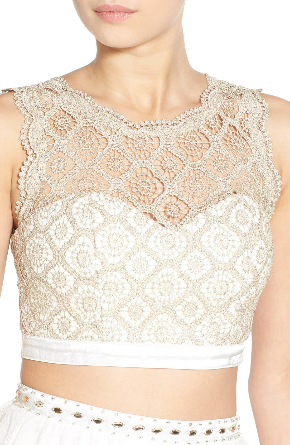 Alternate Image 4  - Sequin Hearts Crochet Lace Two-Piece Dress