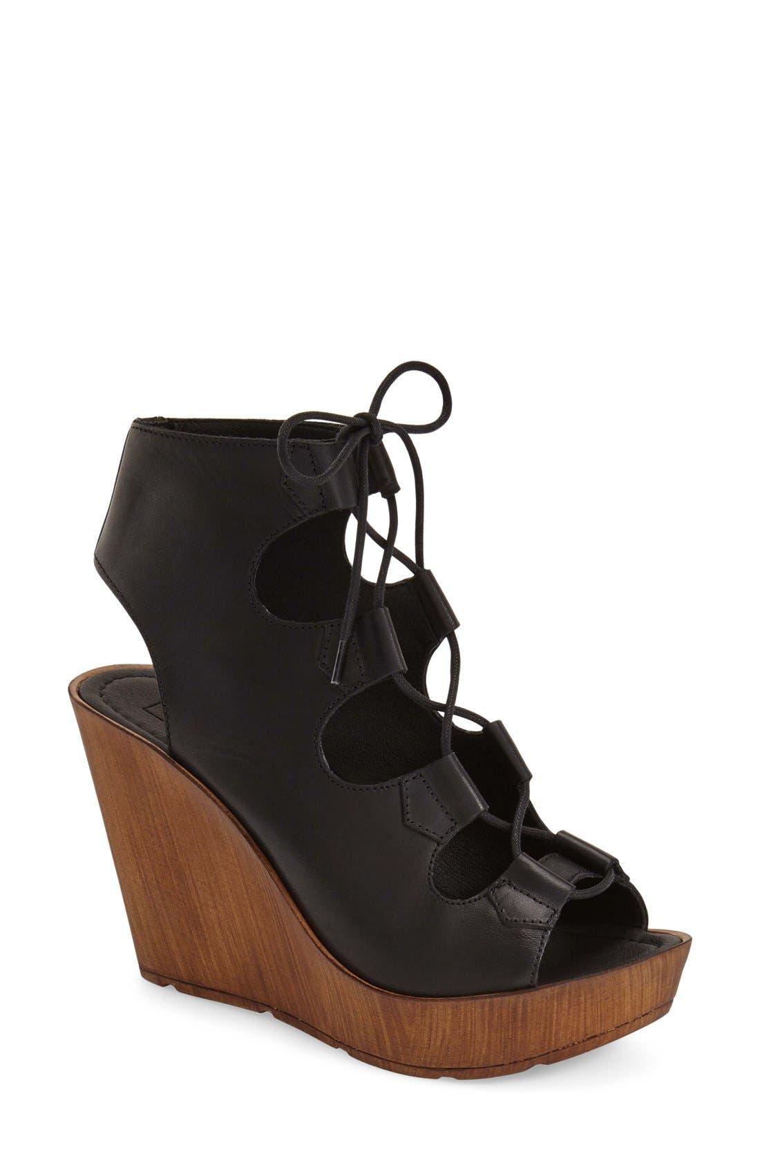 Alternate Image 1 Selected - Topshop 'Wanda' Ghillie Wedge Sandal (Women)