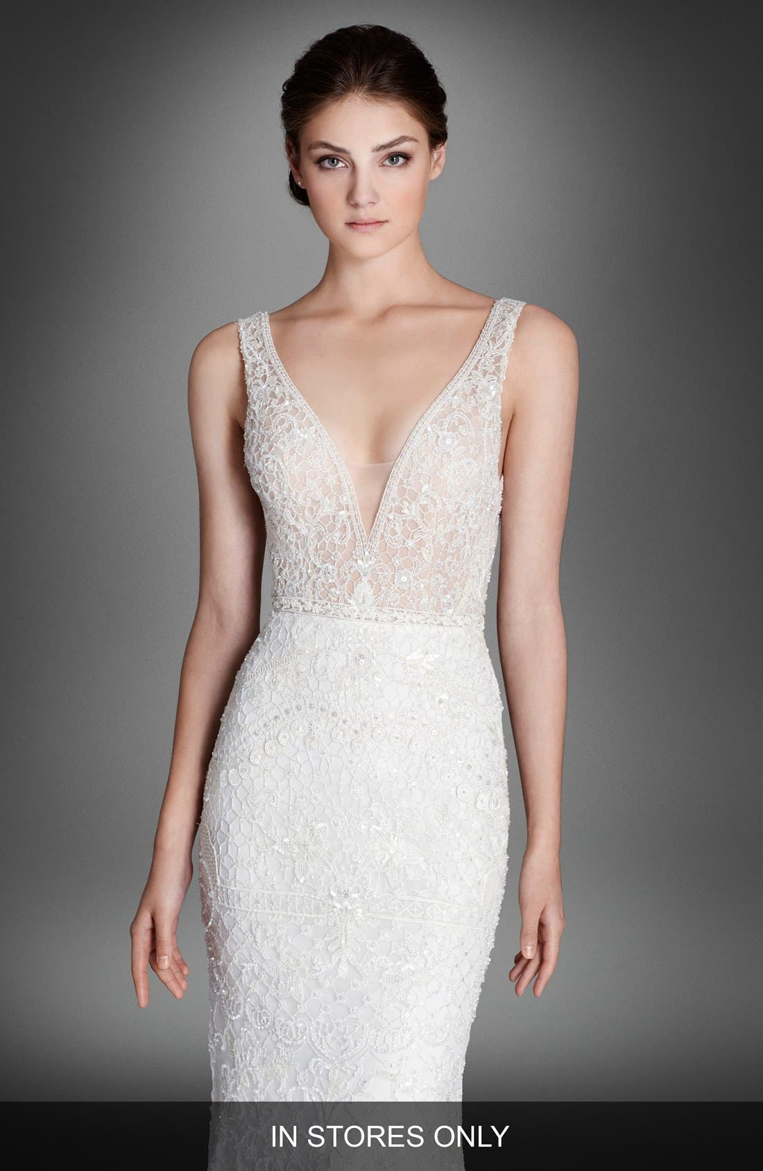 LAZARO Crystal Beaded Column Dress