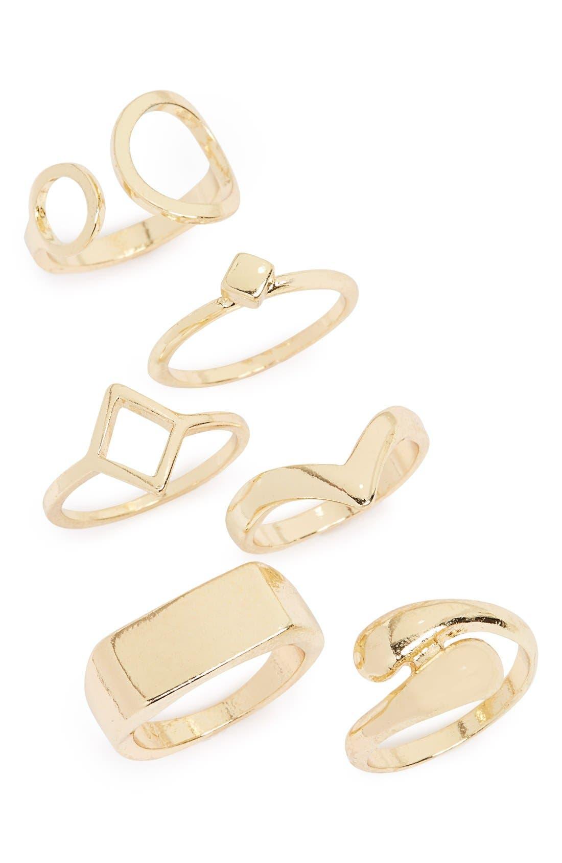 Main Image - Topshop Geometric Rings (Set of 6)