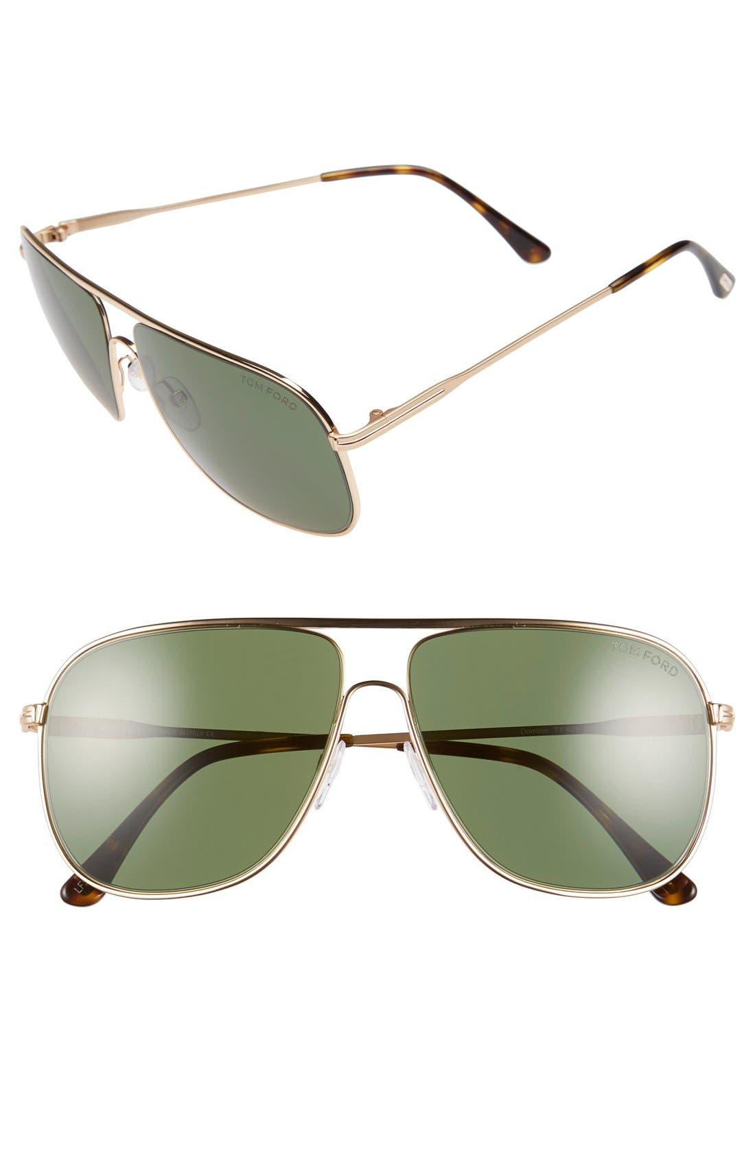TOM FORD 'Dominic' 60mm Aviator Sunglasses