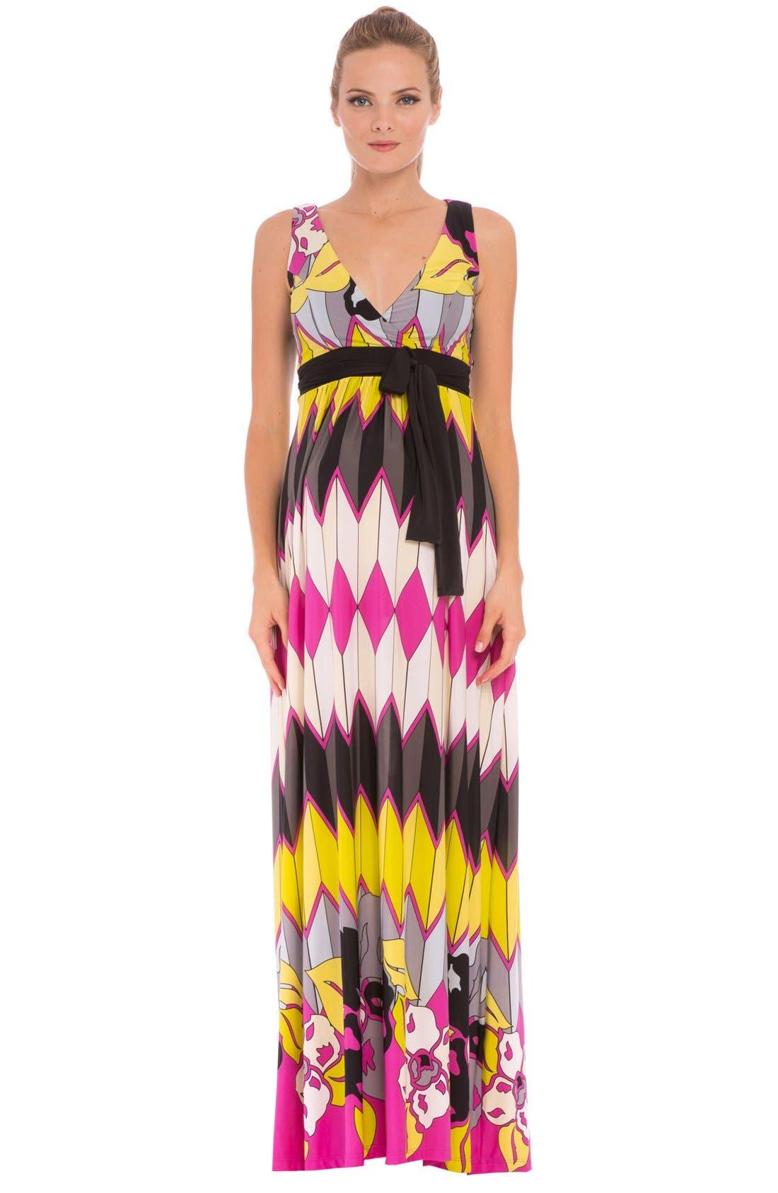 Olian 'Natasha' Print Maternity Maxi Dress