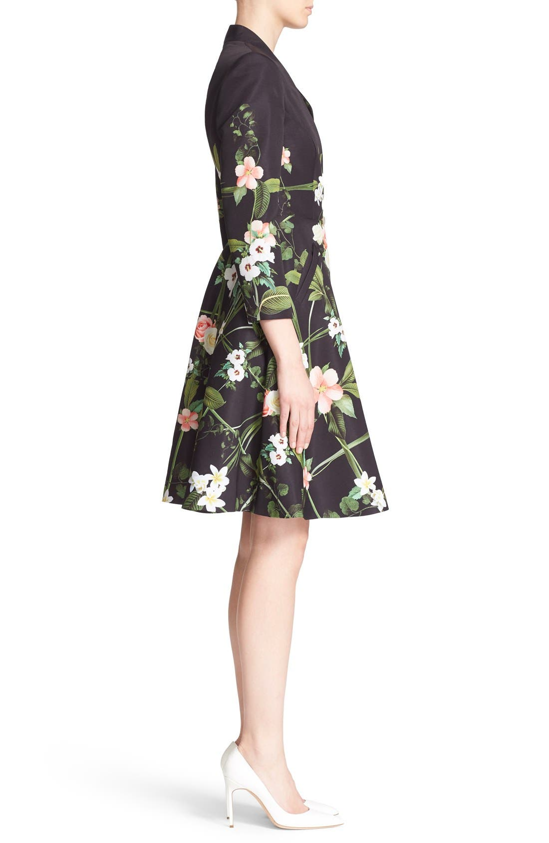Alternate Image 3  - Ted Baker London 'Giova' Floral Print Fit & Flare Coat