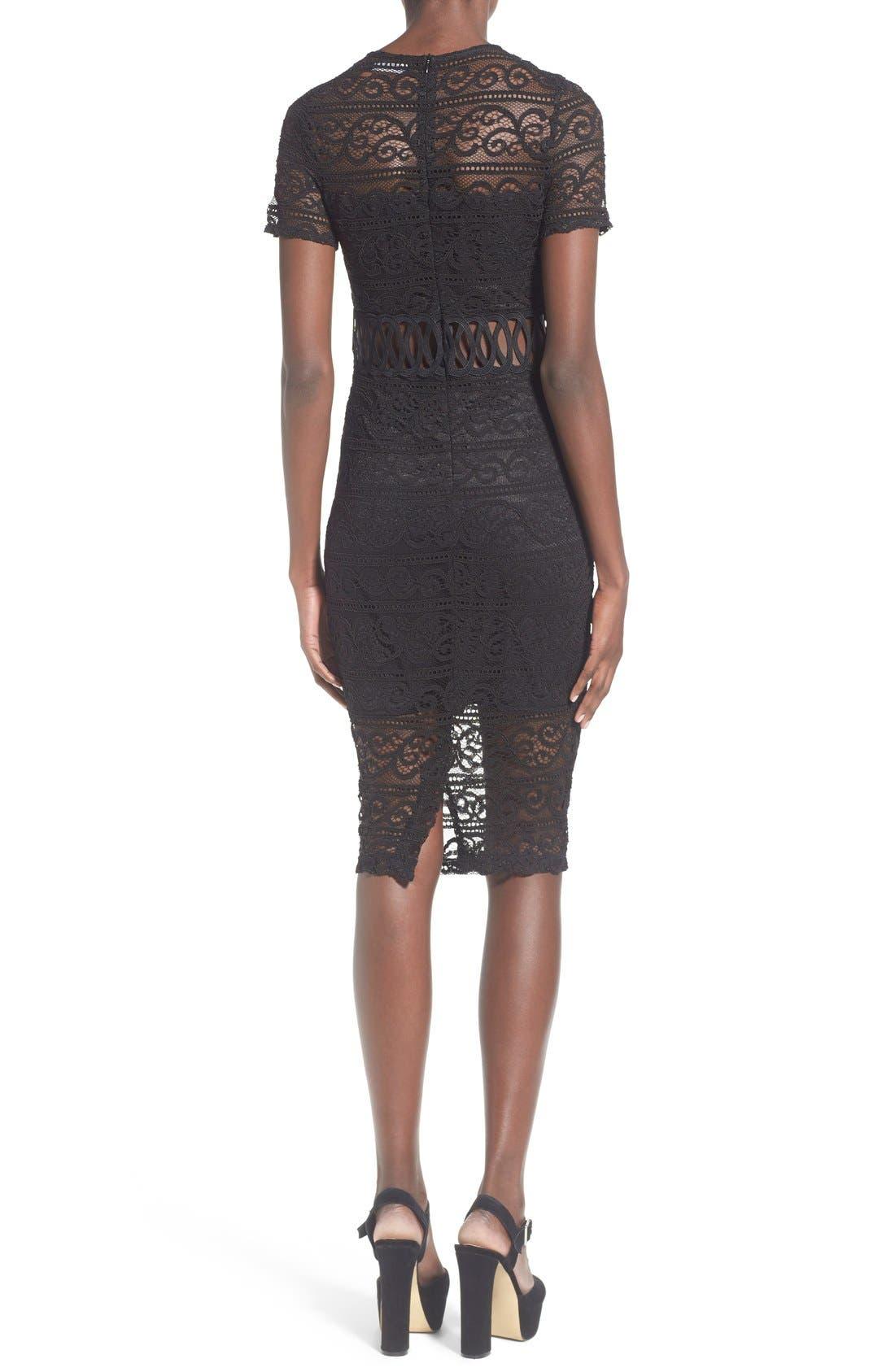 Alternate Image 2  - Missguided Lace Panel Midi Dress