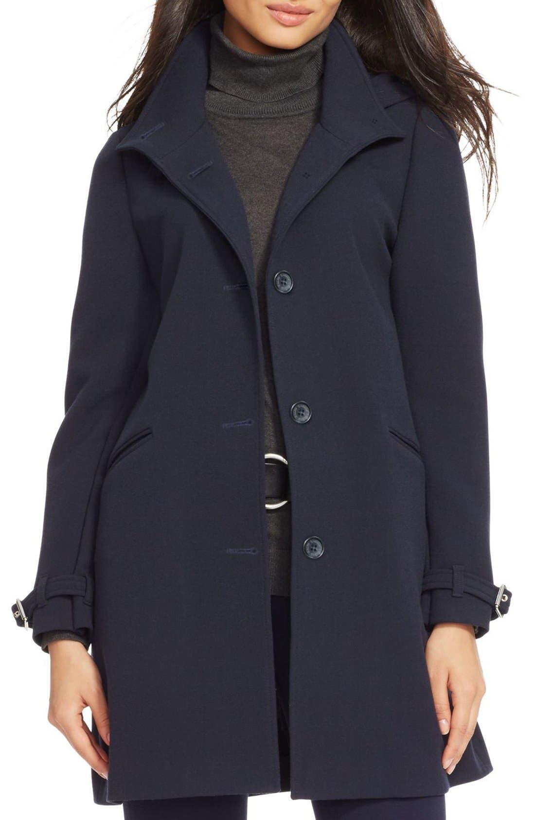 Alternate Image 1 Selected - Lauren Ralph Lauren Crepe A-Line Coat