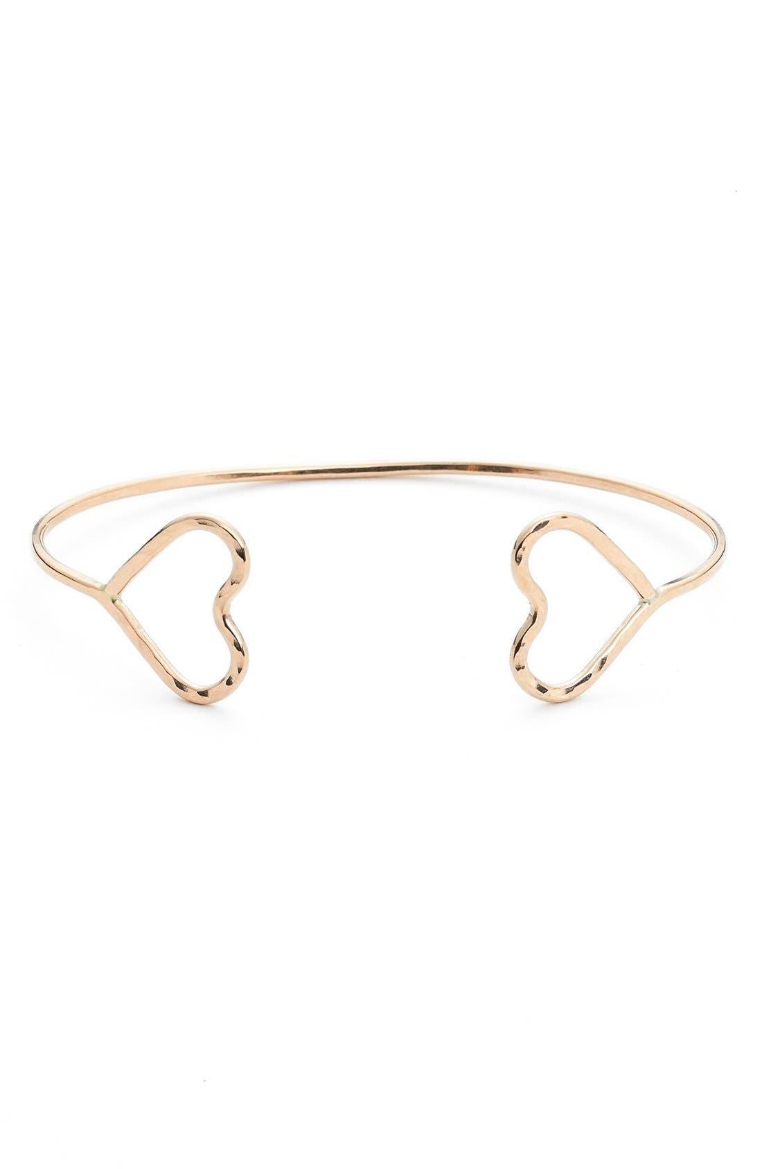 Main Image - Nashelle 14k-Gold Fill Open Heart Cuff Bracelet