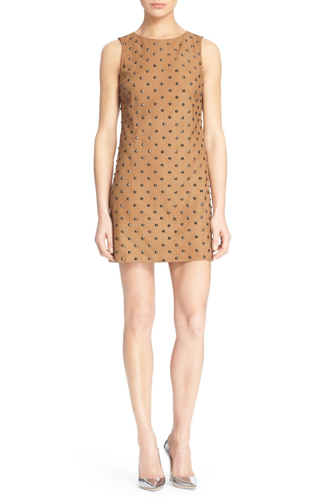 Main Image - Alice + Olivia 'Clyde' Suede Shift Dress