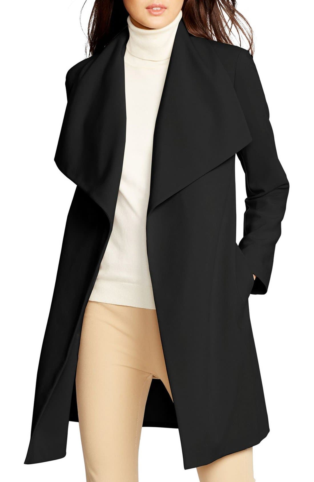 Main Image - Lauren Ralph Lauren Belted Drape Front Coat