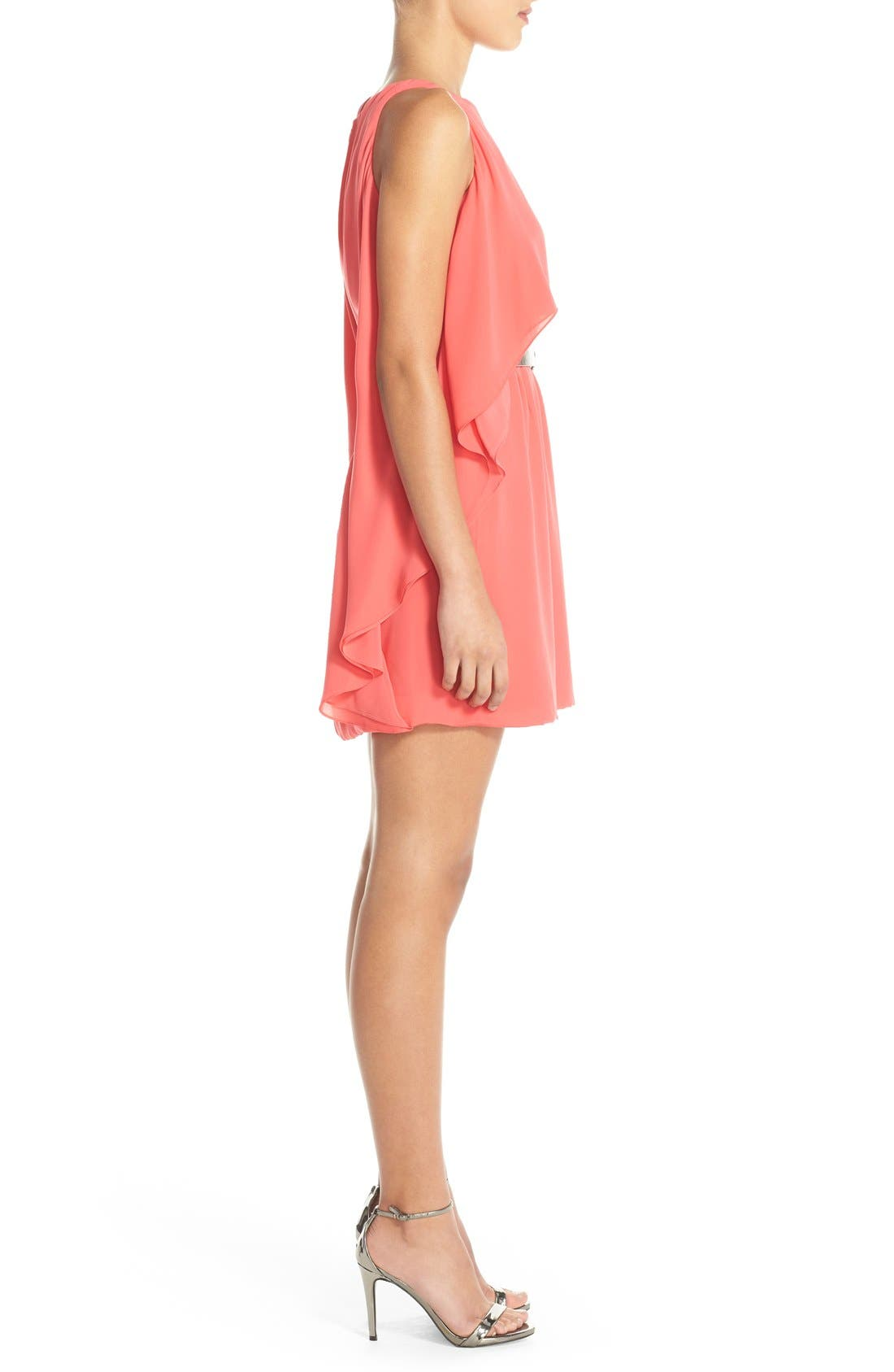 Alternate Image 2  - Halston Heritage Ruffled Georgette Popover Dress