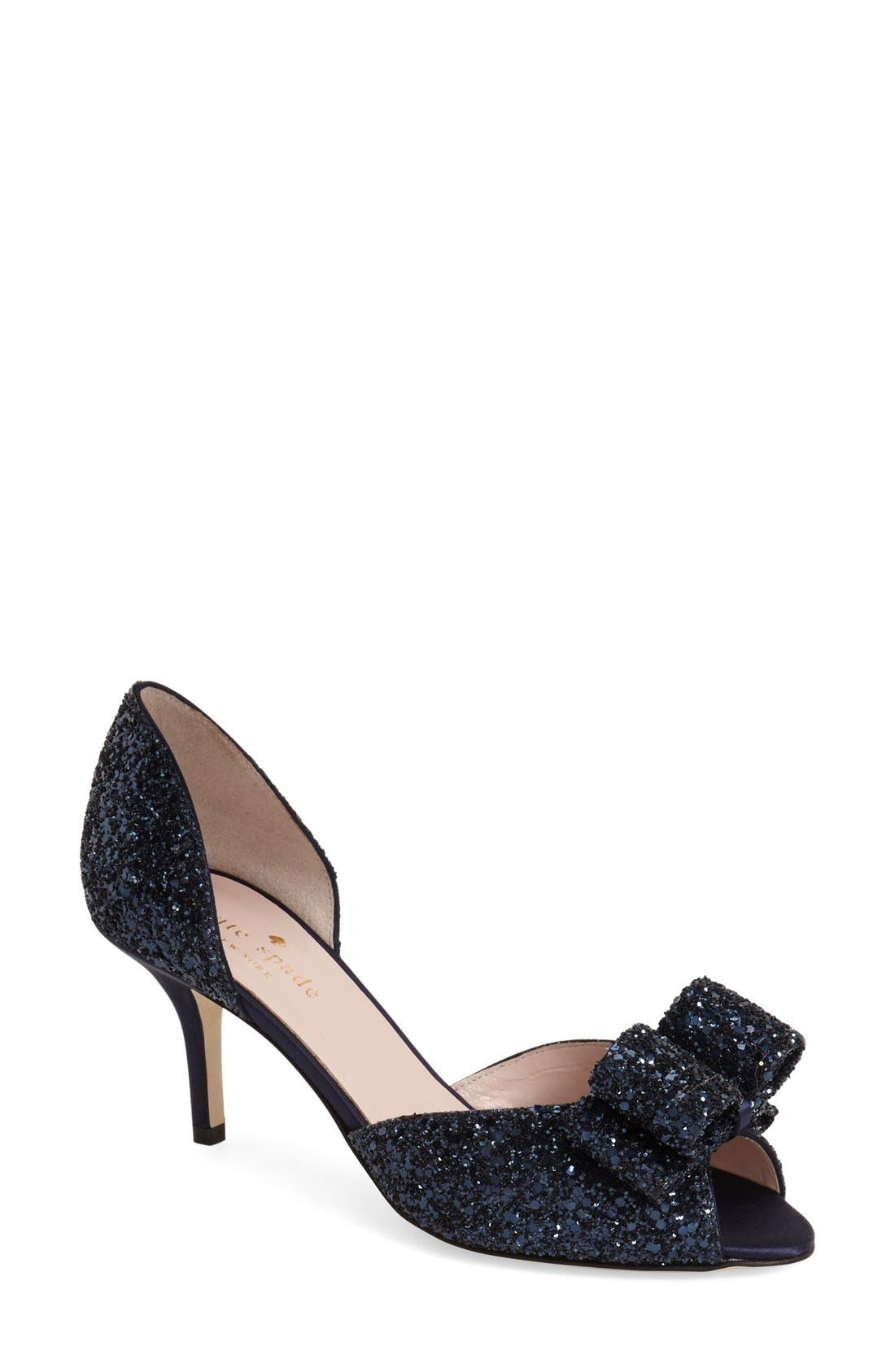 KATE SPADE NEW YORK 'sela' glitter bow peep
