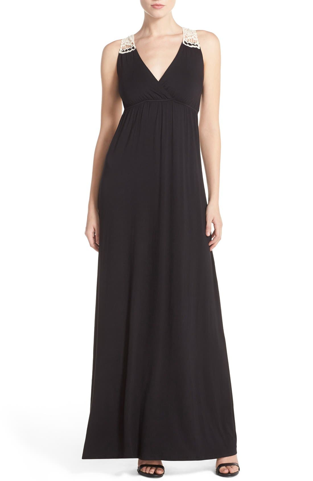 Alternate Image 1 Selected - Felicity & Coco Crochet Back Jersey Maxi Dress (Regular & Petite) (Nordstrom Exclusive)
