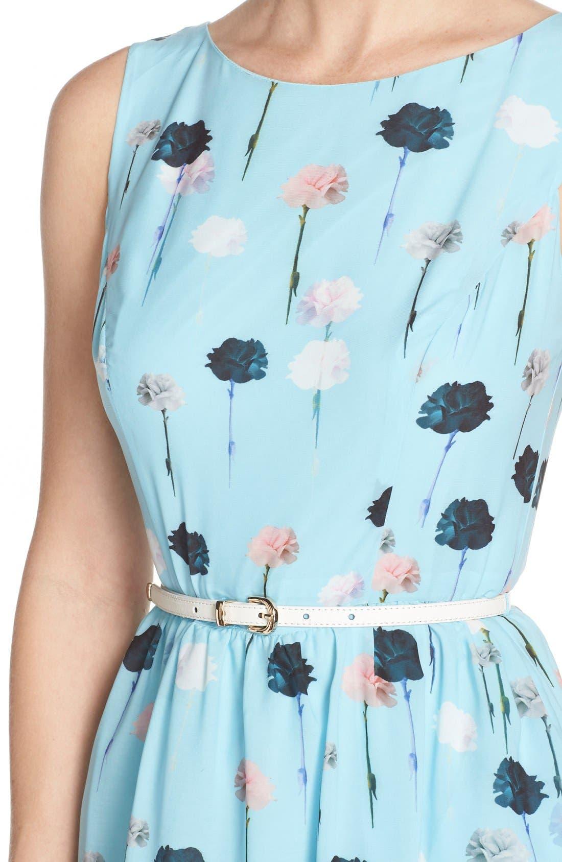 Alternate Image 5  - Adrianna Papell Carnation Print Fit & Flare Dress (Regular & Petite)