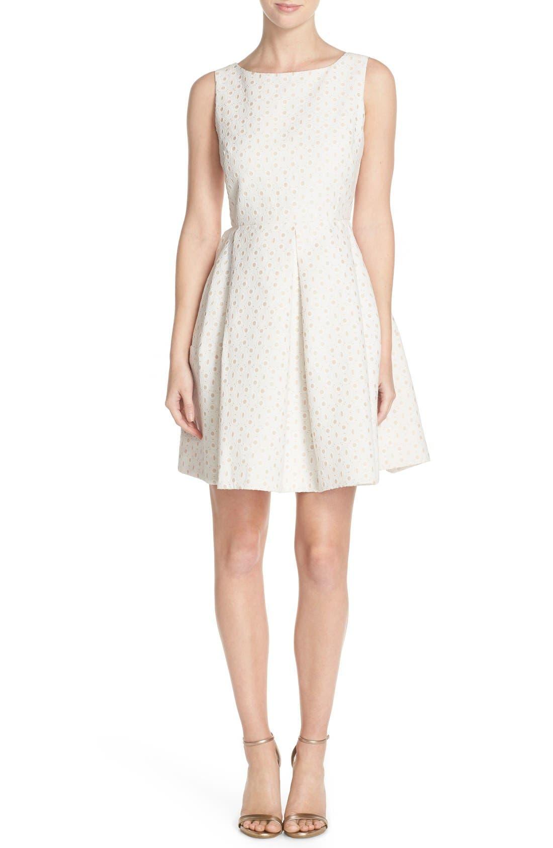 Alternate Image 4  - Taylor Dresses Eyelet Fit & Flare Dress