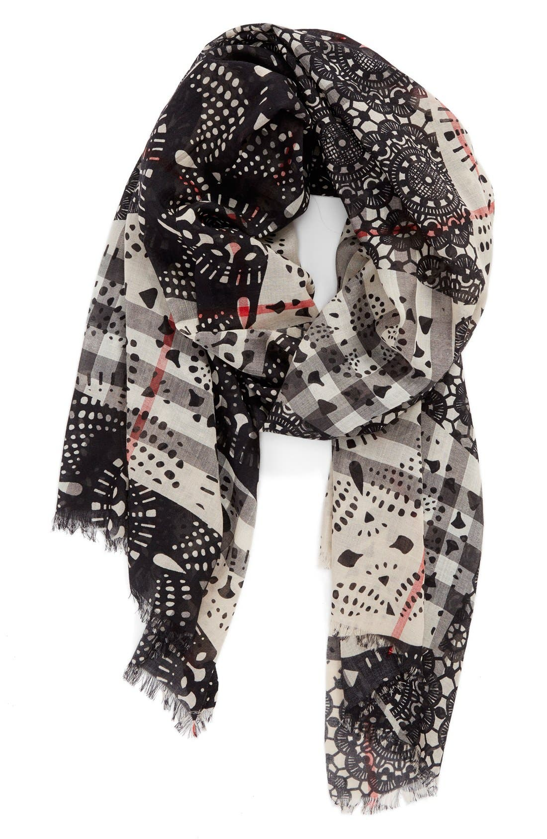 Main Image - Burberry Lace Patchwork & Check Print Wool & Silk Scarf