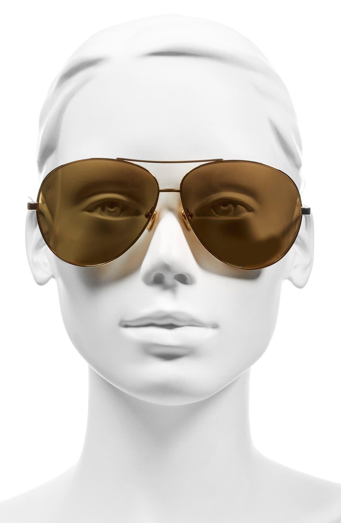 Alternate Image 2  - Linda Farrow 64mm 22 Karat Gold Plated Aviator Sunglasses
