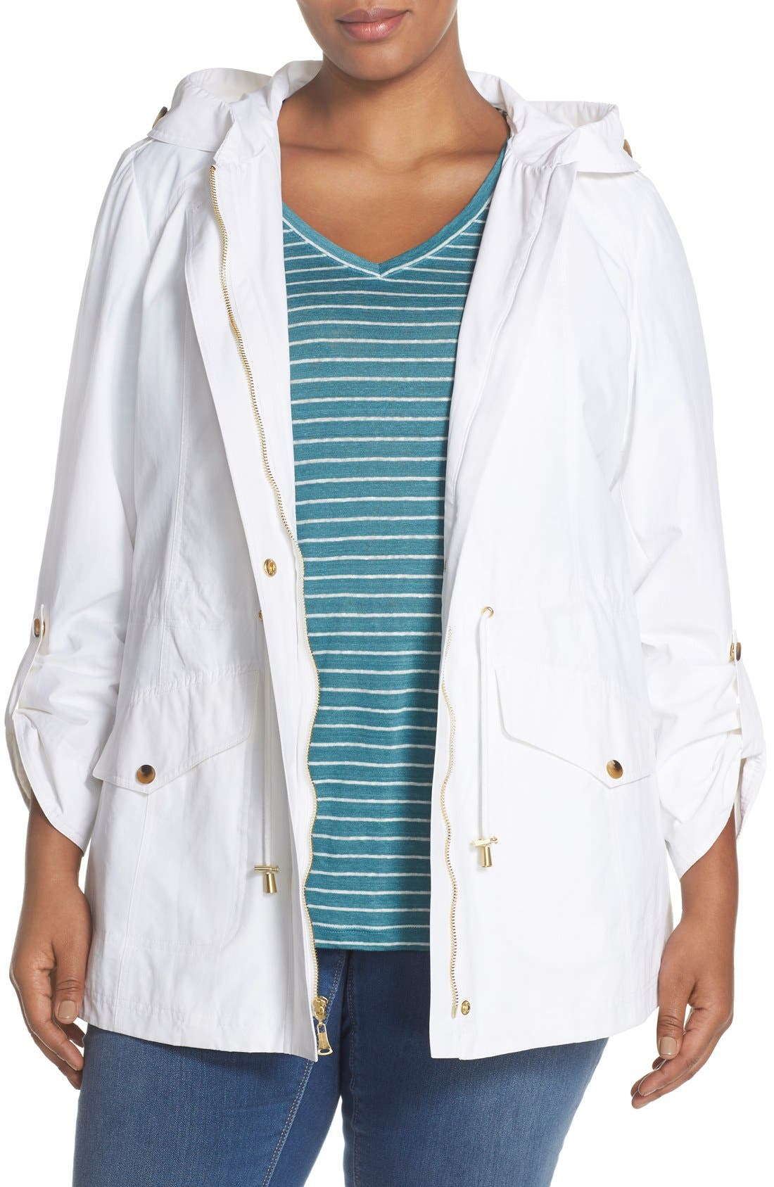 Ellen Tracy Roll Sleeve Sailcloth Anorak (Plus Size)