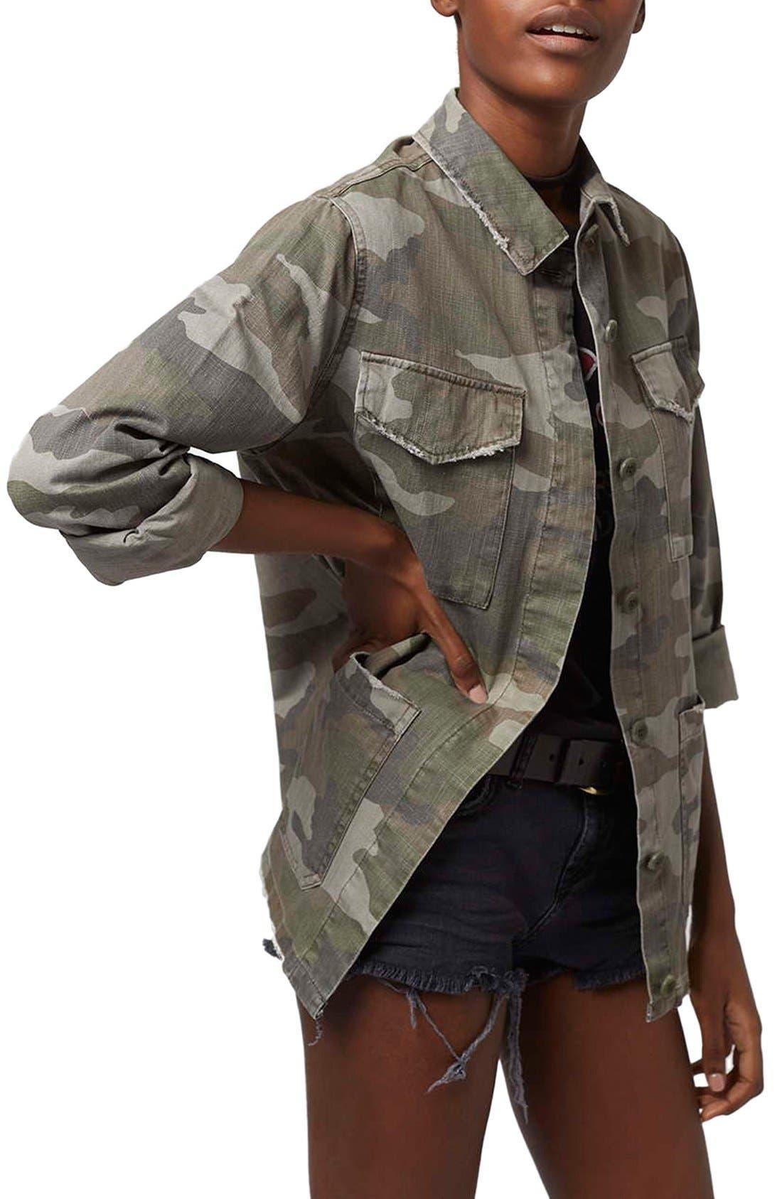 Main Image - Topshop 'Sandy' Camo Print Shirt Jacket (Regular & Petite)