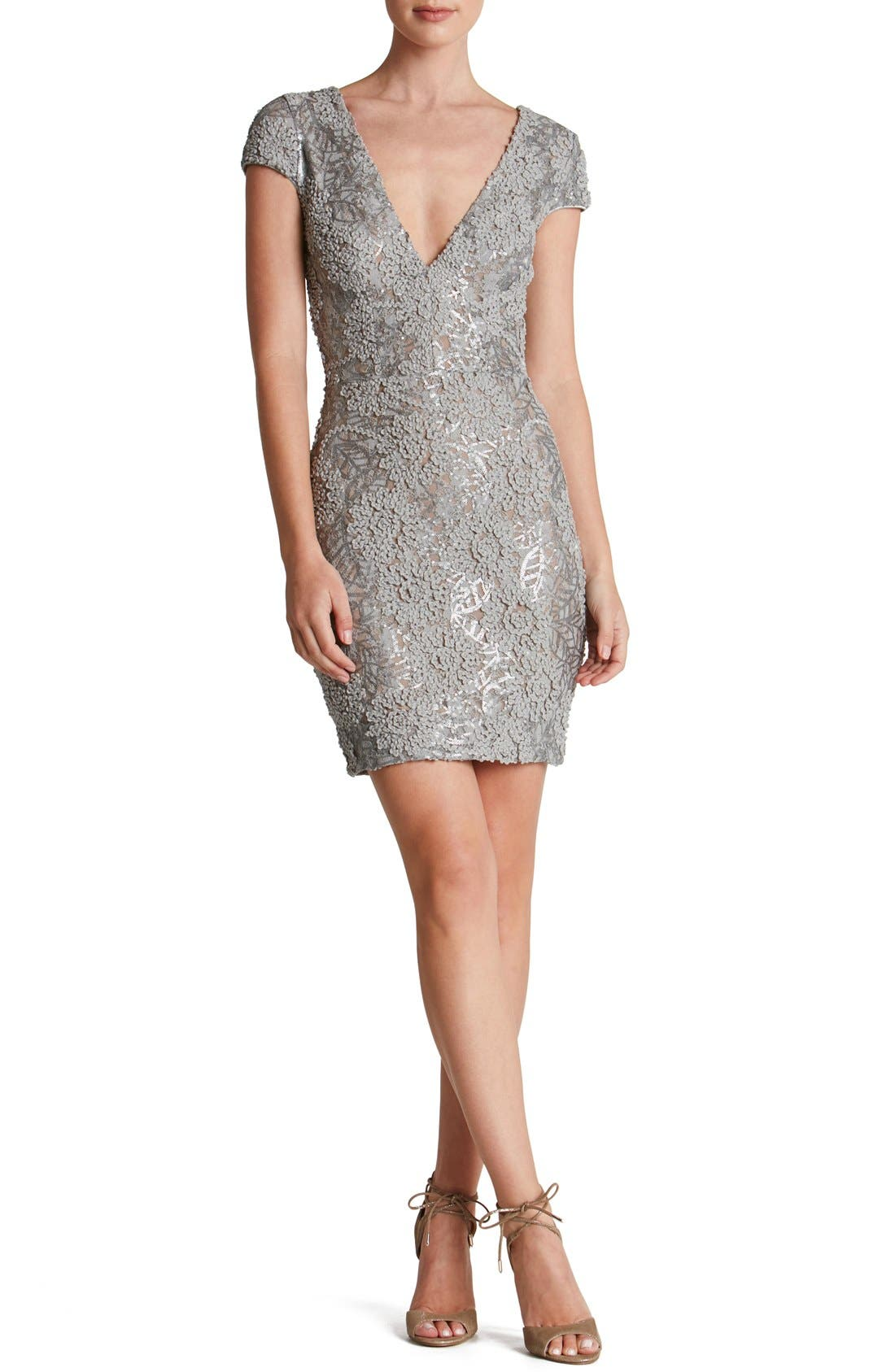 DRESS THE POPULATION 'Zoe' Embellished Mesh Body-Con Dress