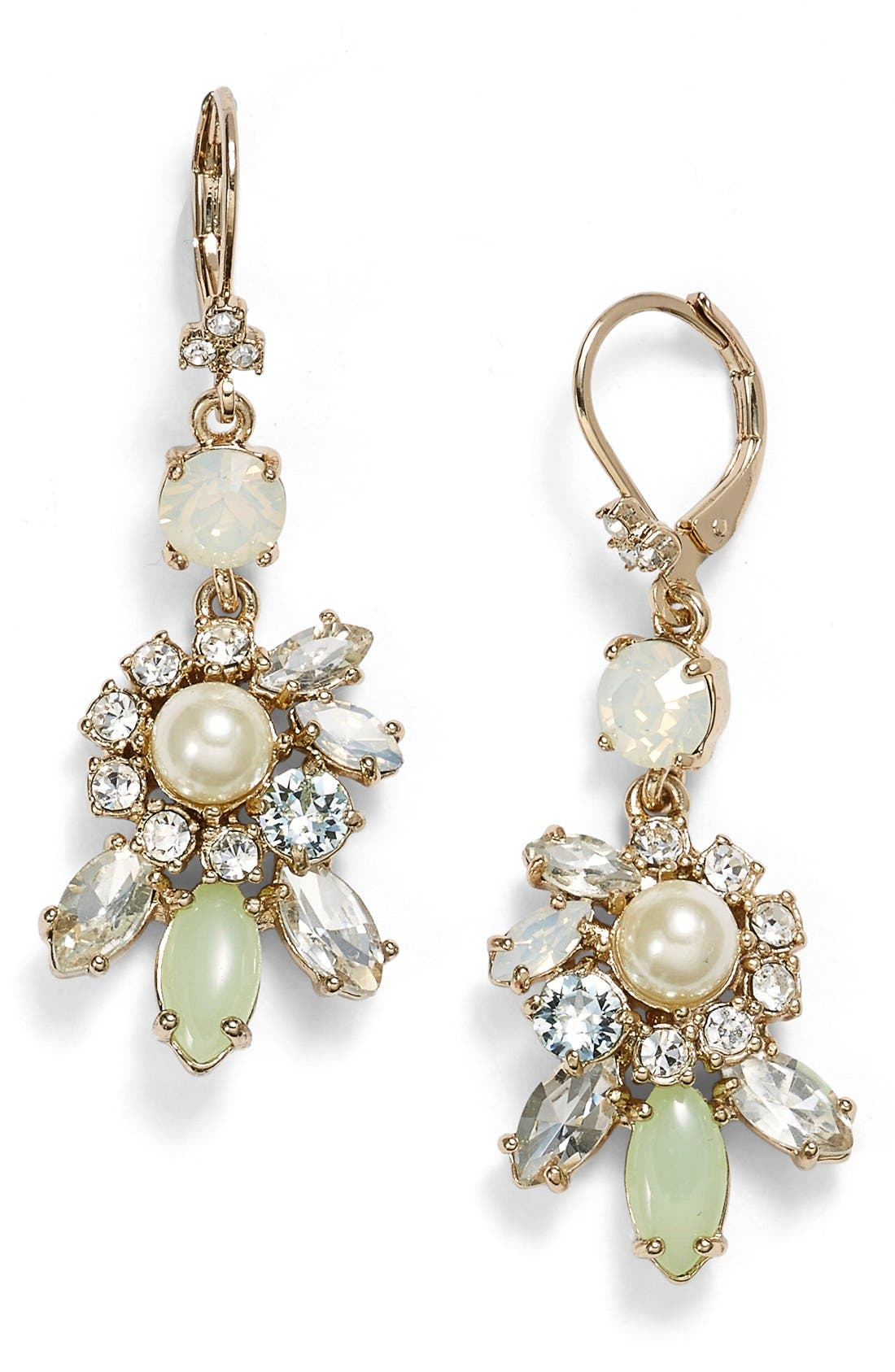 Main Image - Marchesa Faux Pearl & Crystal Cluster Drop Earrings