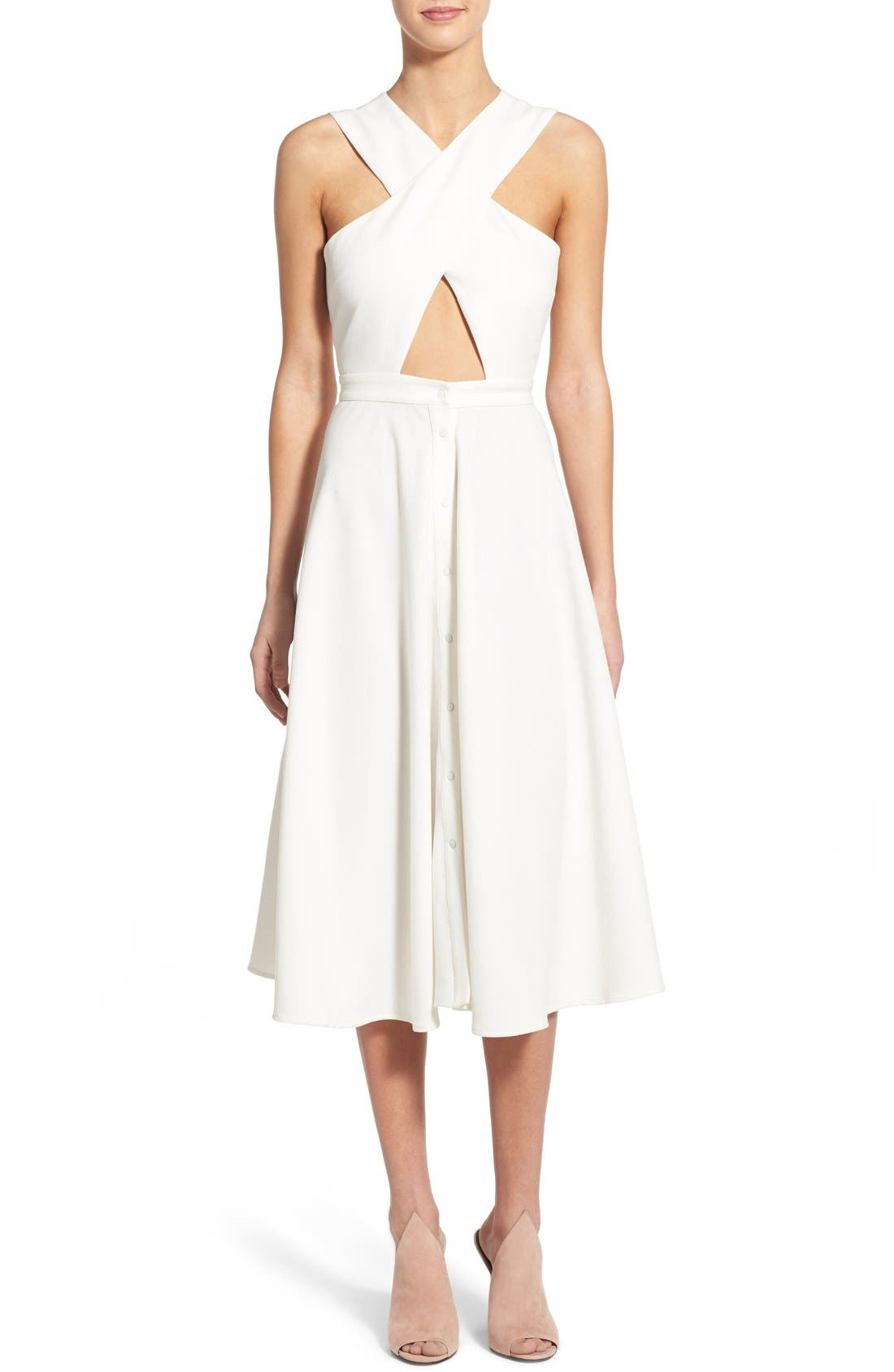 Main Image - KENDALL + KYLIE Crossover Bodice Midi Dress