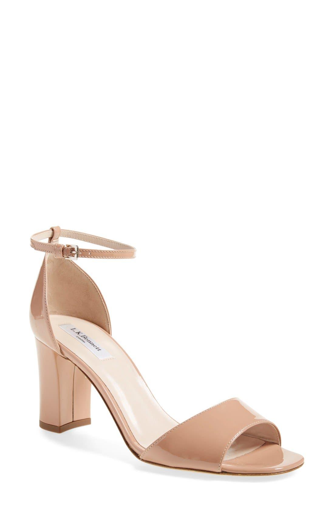 L.K. BENNETT 'Helena' Ankle Strap Block Heel Sandal