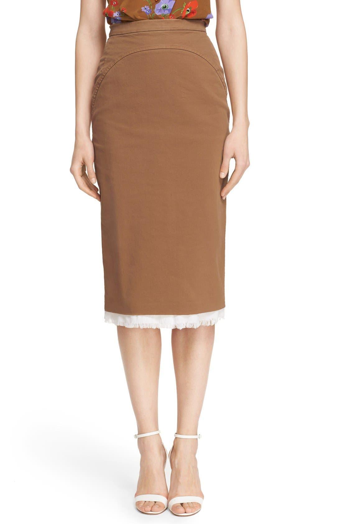 Alternate Image 1 Selected - Nº21 'Lison' Frayed Hem Khaki Pencil Skirt