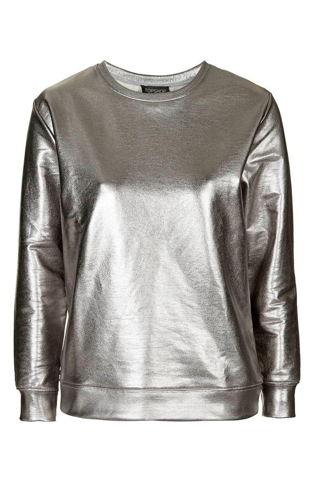 Alternate Image 4  - Topshop Foiled Crewneck Sweatshirt (Petite)