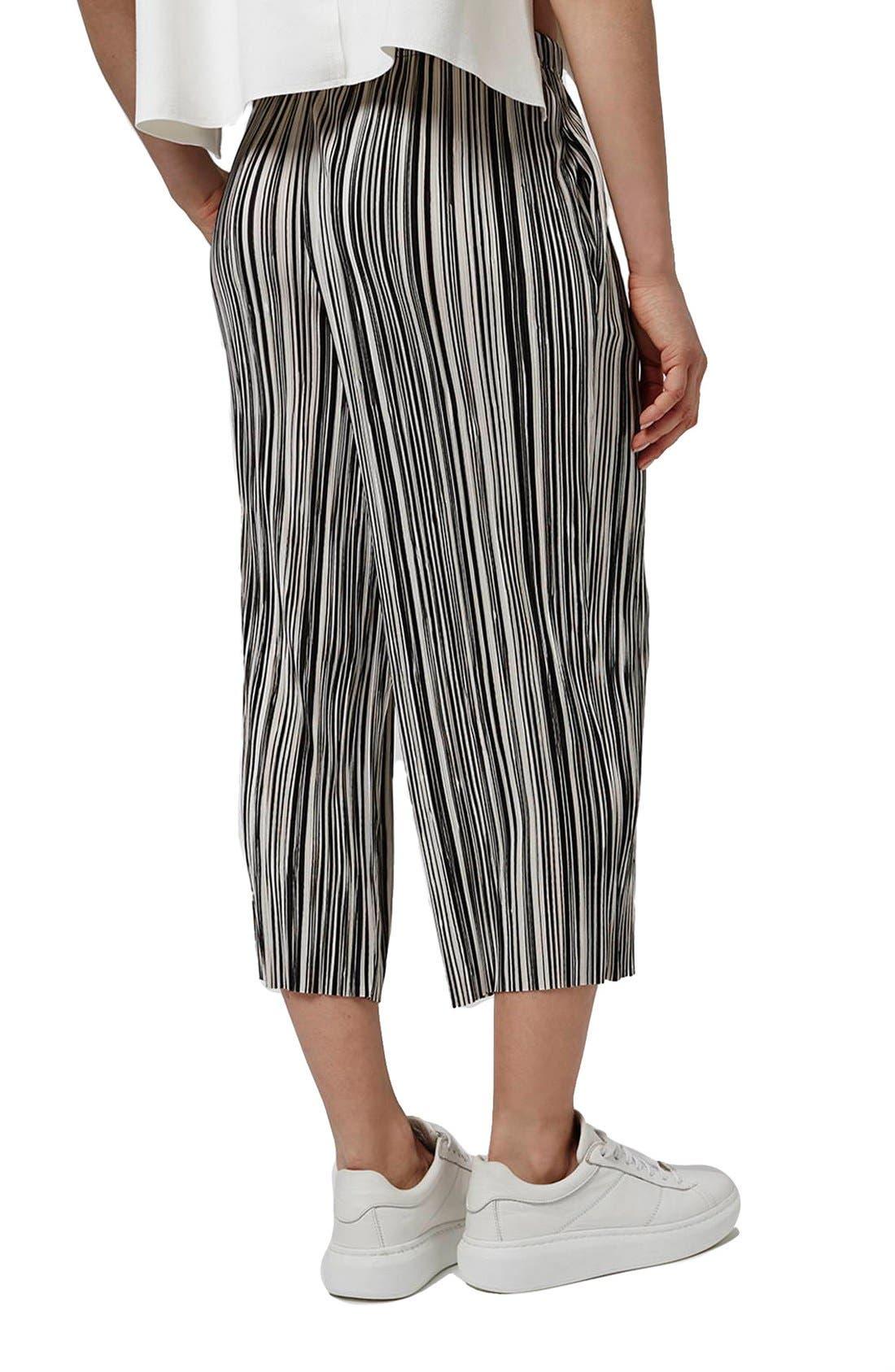 Alternate Image 3  - Topshop Pleat Stripe Crop Trousers (Petite)